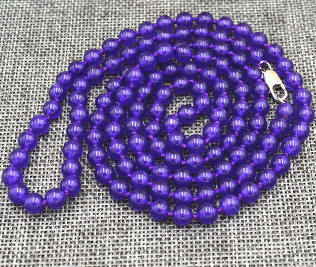 wholesale good Charming 6mm purple amethyst beads Necklace 36 ""