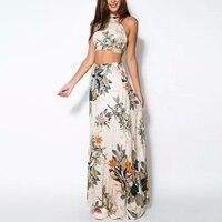 Модные летние женские бандажные цветочные повседневные пляжные платья укороченный топ + длинная юбка комплект из 2 предметов