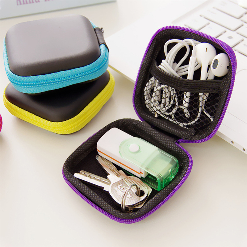 Cute Mini Stationery Clip Holder Dispenser Desk Organizer Bags Earphone Cable Earbuds Storage Pouch Bag School Office