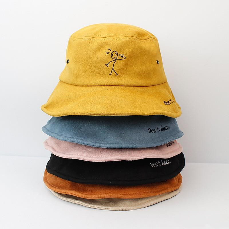 2019 Warm Thicken Cotton Embroidery Bucket Hat Fisherman Hat Outdoor Travel Hat Sun Cap Hats For Men And Women 508