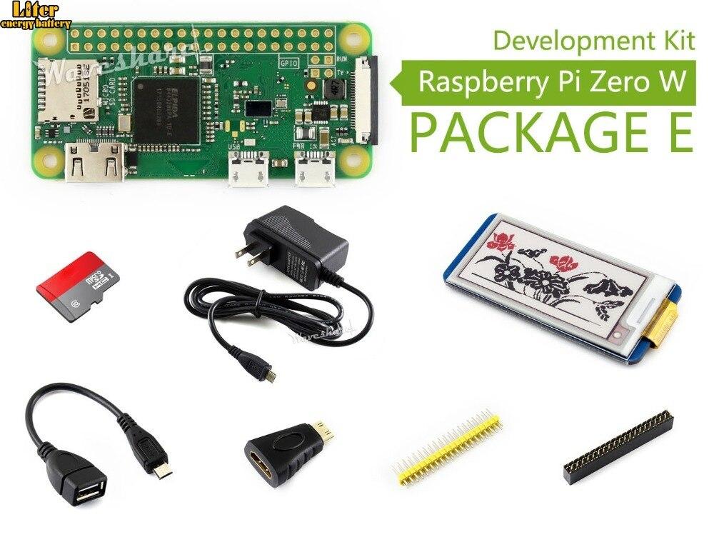 Raspberry Pi Zero W paquet E Kit de développement de base carte Micro SD, adaptateur d'alimentation, chapeau 2.13 pouces e-paper et composants de base