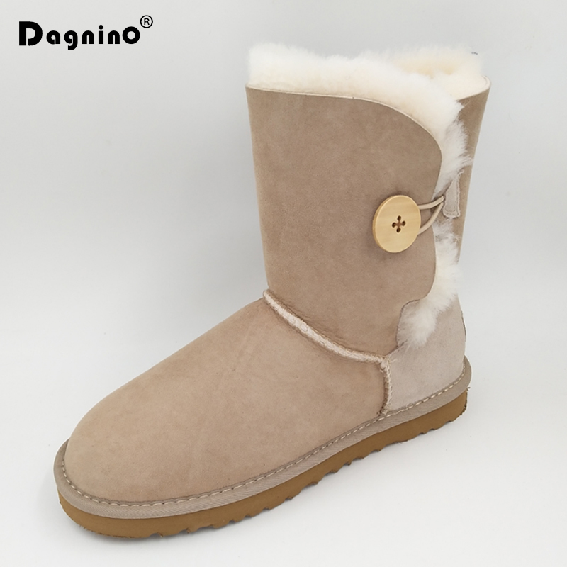 DAGNINO Female Genuine Sheepskin Winter Warm Snow Boots High Quality Shearling Women's Buttons Natural Fur Ankle Shoes For Woman