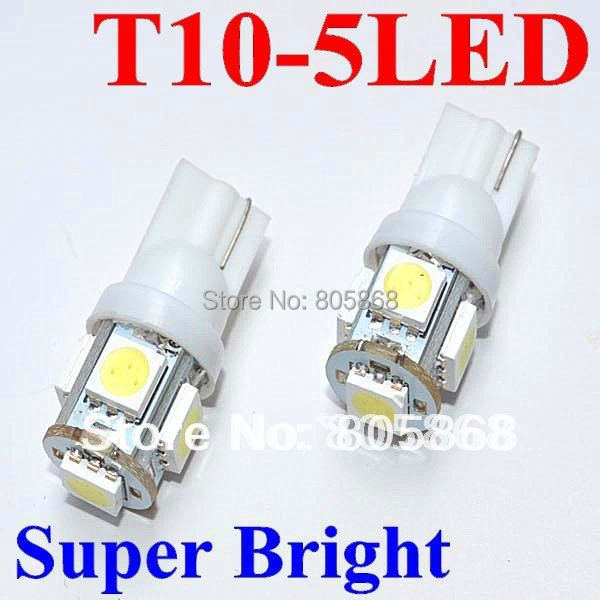 100 X T10 194 168 W5W 5smd 12V 5050 5SMD t10 5LED Light Bulb Clearance Light Parking Light auto led light Indicator Reading Lamp
