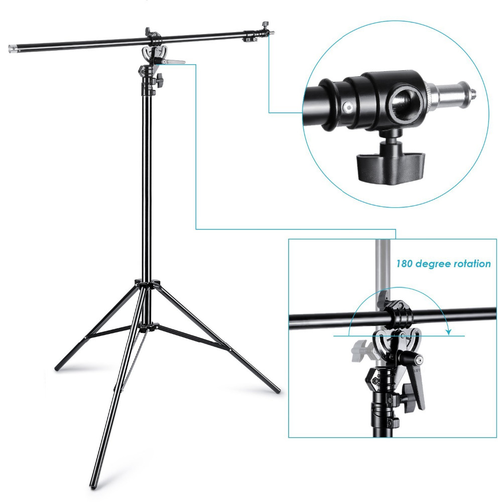 Neewer Max 13ft/390cm Two Way Rotable Aluminum Adjustable Tripod Boom Light Stand With Sandbag For Studio Photography Video