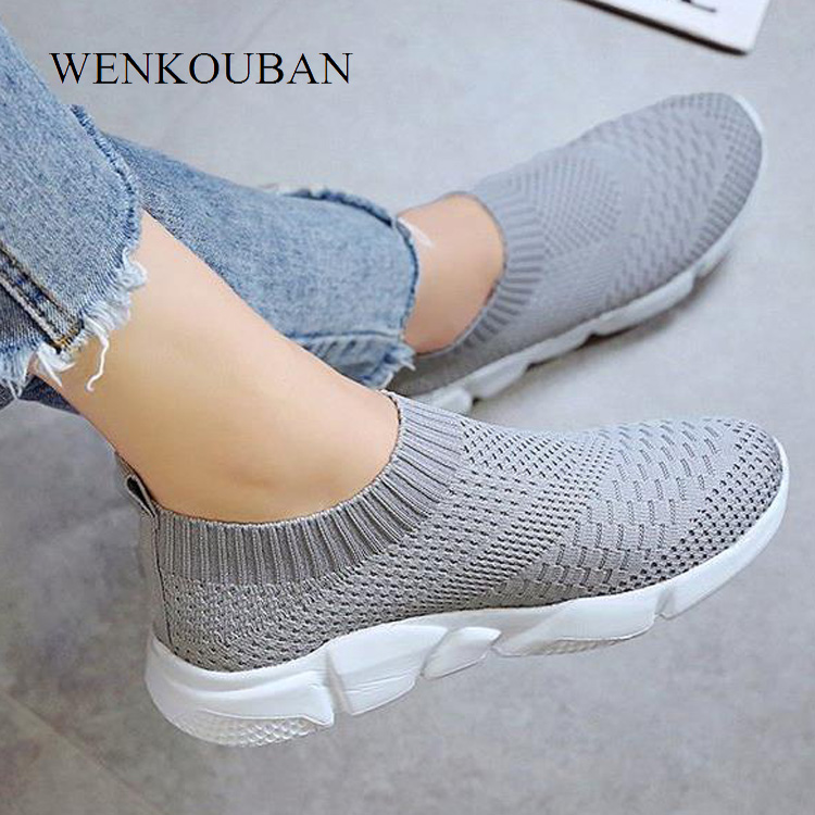 Fashion Sneakers Women Trainers Casual Slip On Socks Shoes Summer Women Vulcanized Shoe Ladies Sneakers White Zapatillas Mujer