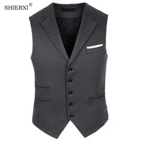 SHIERXI New Men Waistcoat Business leisure Suit Collar Anti wrinkle Wash and Wear Vest Tops Man Vests Waistcoat