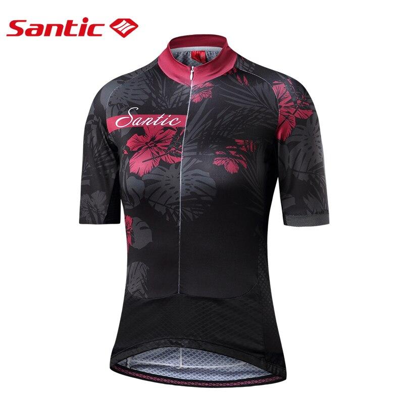 Santic femmes maillots de cyclisme printemps été Pro vélo équitation maillot court réfléchissant Fit dames route vtt vélo équipement de cyclisme