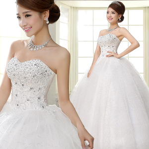 Image 3 - Costomize Real photo Wedding Dress 2016 Korean Style vestido de noivawhite wedding gown floor length sequin wedding dress bride