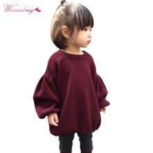 2017 Winter Baby Girl Long Sleeve Knitted Solid Red Sweater Clothes Kids Pleated Sweaters(China)