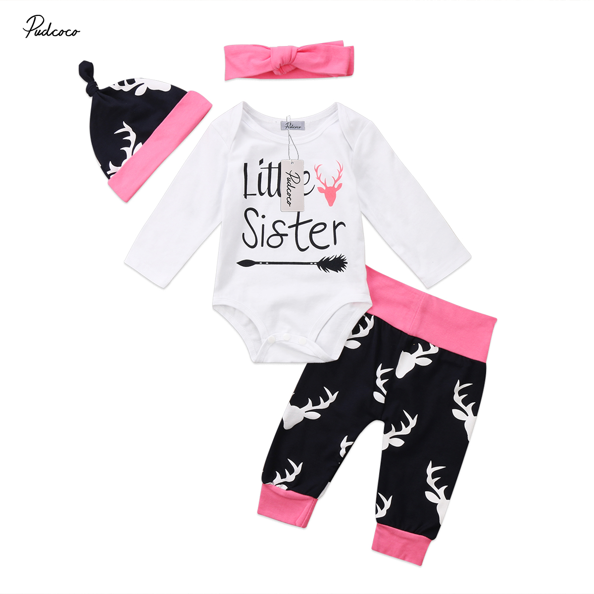 Cute Little Sister 4pcs Deer Outfits Infant Baby Girl Print Clothing Sets Cotton Romper Long Pants Hats Clothes Set 0-18M