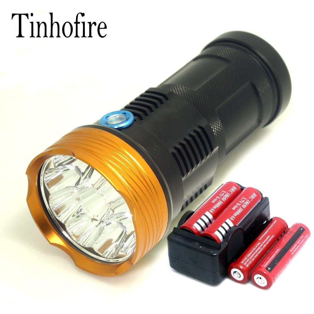 Tinhofire 20000 lumens light King 10T6 LED flashlamp 10 x CREE XM-L T6 LED Flashlight Torch Lamp Light with battery and charger new 20000 lumens high power 10t6 led 10 x cree xm l t6 led flashlight torch lamp light lantern with 4 batteries