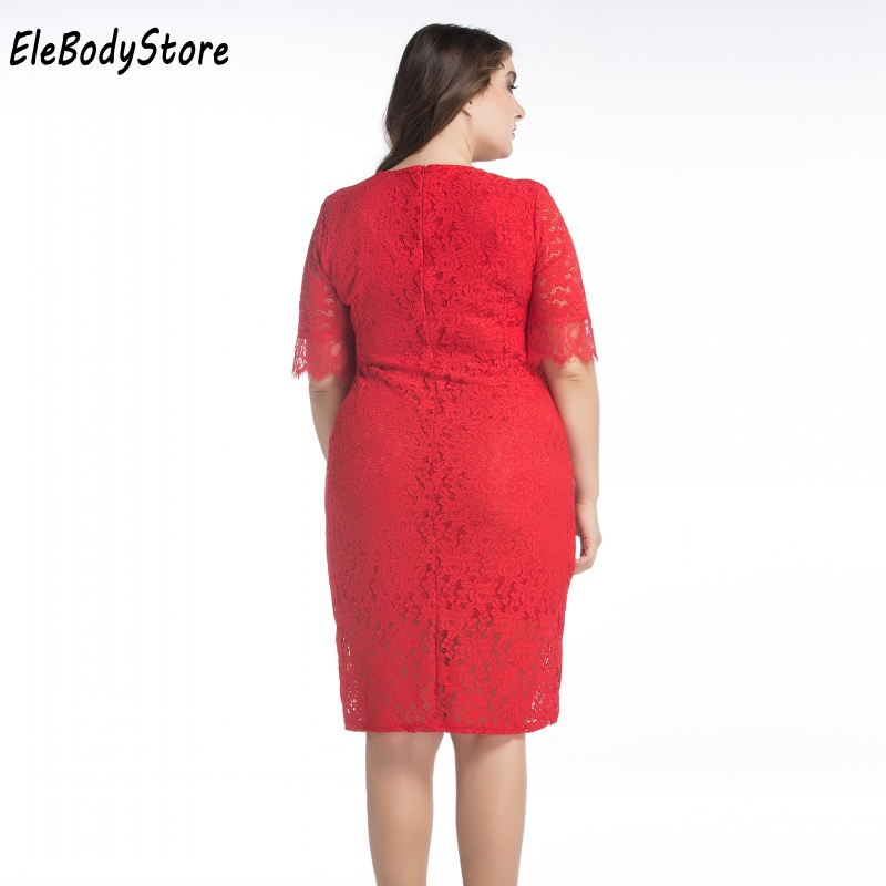 b2f4ceecb0f ELEBODYSTORE 2017 Plus Size Women Casual Summer Sexy Lace Dress Woman Midi  Red Dresses Clothing Evening Party 4XL 5XL 6XL 7XL-in Dresses from Women s  ...