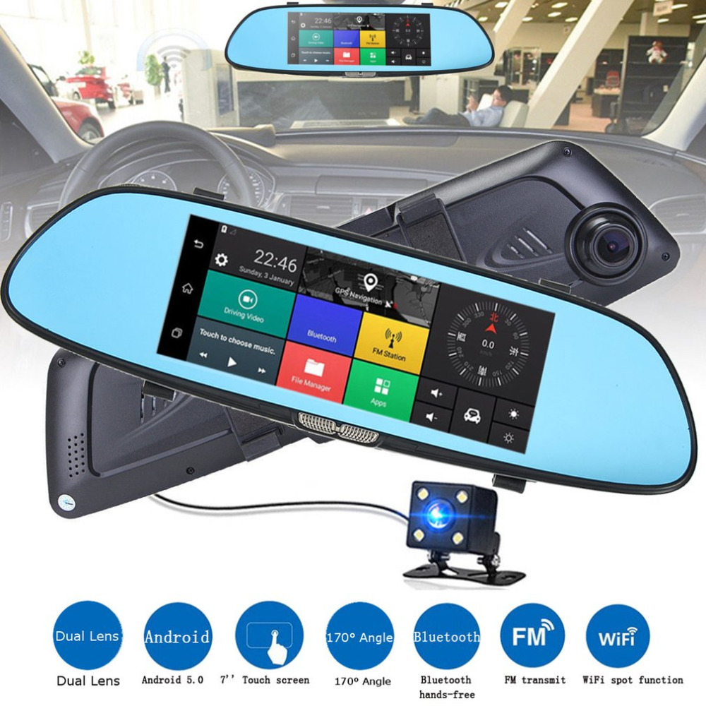 New Auto HD 1080P 7 Inch Screen Display Video Recorder G-sensor Dash Cam Rearview Mirror Camera DVR Car Driving Recorder Hot цена