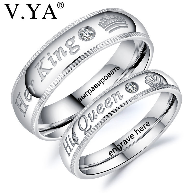 be91ea876a V.YA Fashion DIY Custom Engrave Couple Jewelry Rings Her King and His Queen  Stainless