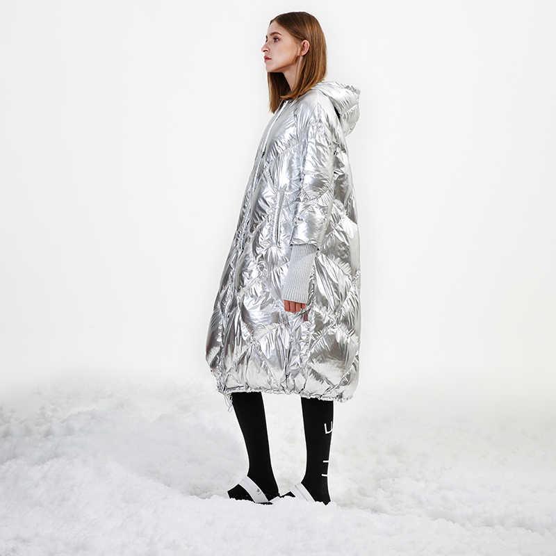 d747783719f IRINAY008 2018 оригинальный дизайн блестящий серебристый цвет толстые  теплые свободные длинные с капюшоном Повседневная зимняя куртка