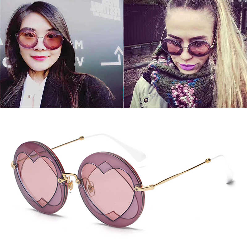 58638b4bb83 JackJad Fashion Women Round Style Triple Layer Lense Sunglasses Brand  Design Girl Heart Shape Sun Glasses