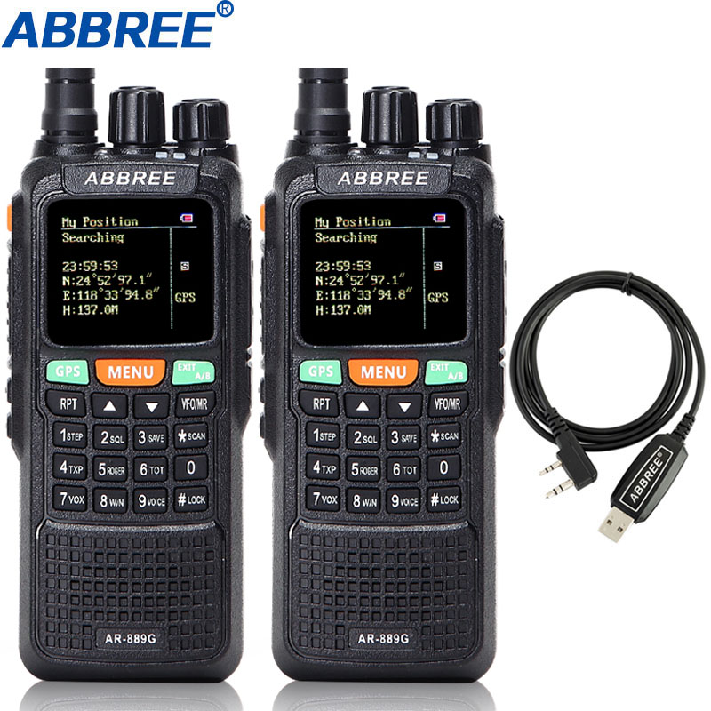 2pcs ABBREE AR 889G Walkie Talkie GPS Location Sharing 10W Night Backlight Cross Band Repeate Duplex