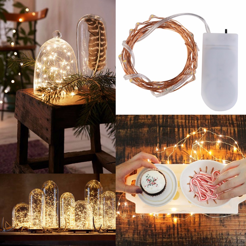 16pcs 2M 20 Lamp Copper string lights Waterproof Battery Operated on 6.56 Ft Long String ...