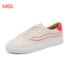 MEIL 2018 women shoes new fashion casual platform PU leather classic women casual lace-up white Spring shoes sneakers цена и фото