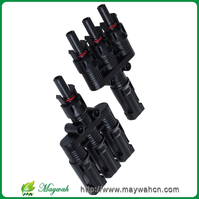 MAYLAR@ 1Pair x MC4 3T Connector Male and Female, MC4 3 Branch Solar Panel Connector Used For Solar Module Parallel Connection maylar 1pairs x mc4 3t connector male and female mc4 3 branch solar panel connector used for solar module parallel connection
