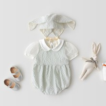 Cute Infant Summer Rabbit Ears Short Sleeve Plaid Print Girls Boys Jumpsuit Climb +Hat Two-piece Set 0-3T Lovely Newborn Clothes