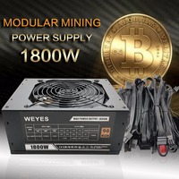 1800W Modular Mining Power Supply GPU For Bitcoin Miner Eth Rig S7 S9 L3 D3