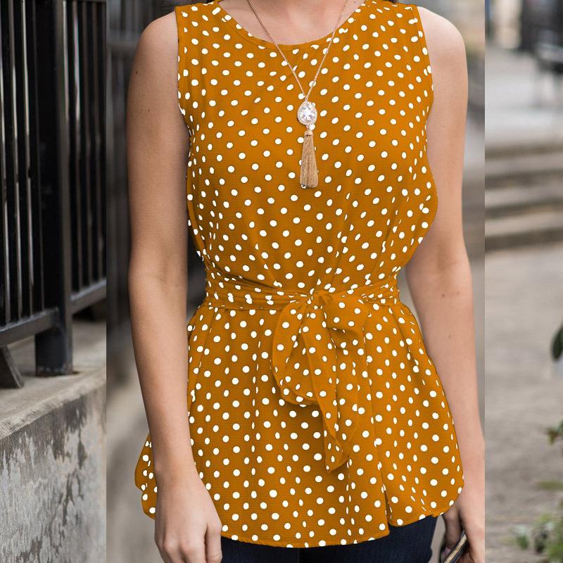 Women Elegant   Blouse     Shirt   Sleeveless Polka Dot   Blouses   Fashion O-Neck Sexy Office Ladies Top WS8453M