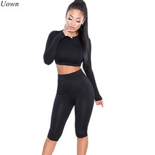 Uown 2017 Fashion Womens Tracksuits 2 pieces Sets Sexy Slim Fitness Long Sleeve O-Neck Crop Top and Elastic Pants Workout Suits