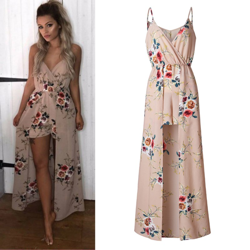 2020 New Arrival Sexy Fashion Sleeveless Braces Bohemian Floral Print Women Fashion Jumpsuit Ladies Playsuits W1