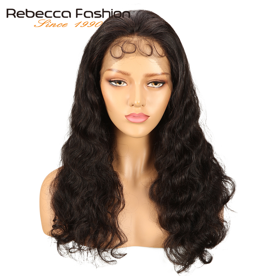 Rebecca Lace Front Human Hair Wigs For Black Women Natural Color 10-24 Inch Peruvian Body Wave Remy Long Lace Wig With Baby Hair