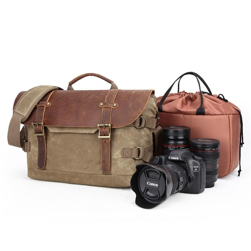 YUPINXUAN Europe mode toile cuir Messenger sacs pour hommes étanche caméra sacs Vintage toile sac à bandoulière DSLR bandoulière