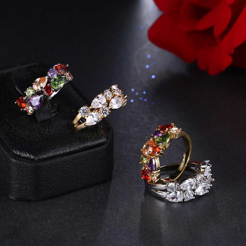 Bague de fiançailles Zircon cubique goutte d'eau multicolore classique couleur or Rose Mona Lise Bague bijoux femme AR017