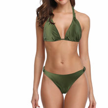 Brazilian bikini swimsuits Army Green Solid Swimming suit for women 2019 tankini Sexy Halter Triangle Bather Suit Beachwear(China)
