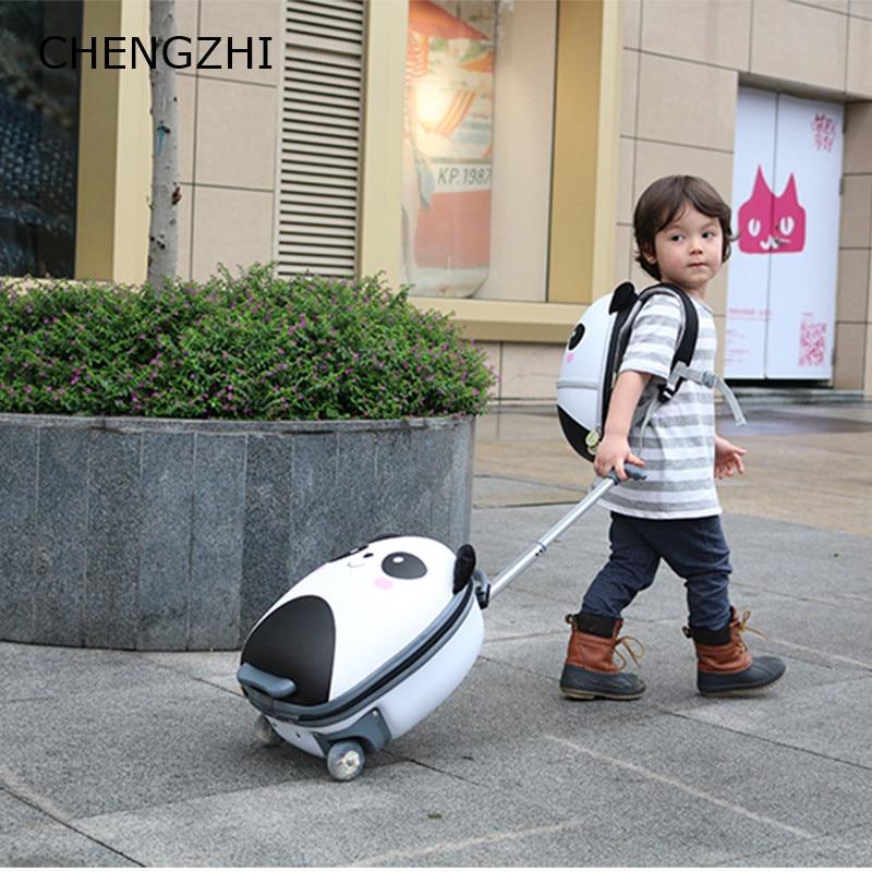 CHENGZHI crianças mala de viagem animais bonitos dos desenhos animados carry on trole caso bagagem bagagem rolando sobre rodas