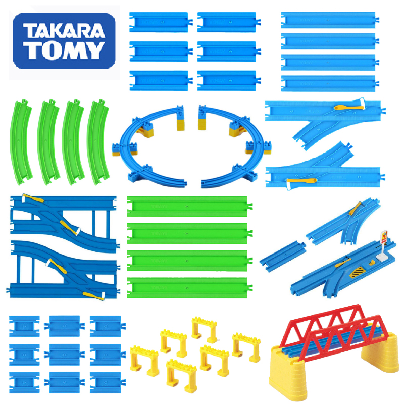 Takara Tomy Plarail Trackmaster Kunststoff Eisenbahn Zug Tracks Teile Zubehör Kurve/Gerade/Block/Brücke Spielzeug Neue