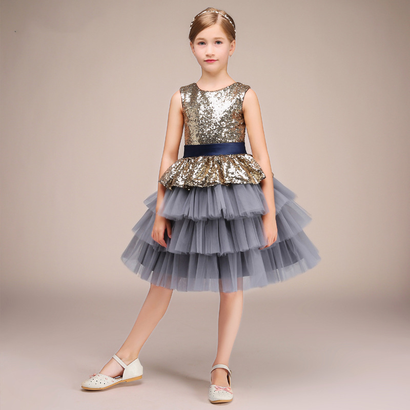 2019 new children's dress costumes sequins bow tutu girls princess dress evening dress stage chorus host service spring