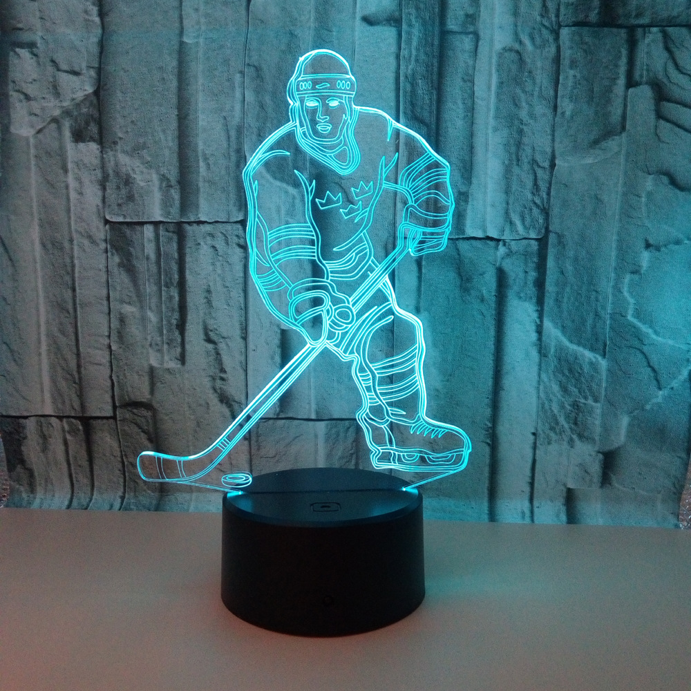 Chambre Complete Led Us 11 25 25 Off New Hockey Player 3d Lamp Led 7 Color Remote Control Light Acrylic Stereo Vision Table Lamps Deco Enfant Chambre Desk Lamp In Led