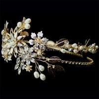 2017 Handmade Vintage Silver Plated Leaf Flower Tiara Wedding Crown Pearl Crystal Hair Jewelry Vintage Bridal