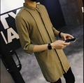 ¡ CALIENTE! 2016 de Moda de Verano ropa de los hombres camisa de lino medio-largo marea camisa de media manga larga camisas estilista trajes del cantante