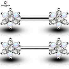 BODY PUNK Body Piercing Jewelry Rose Gold Silver Bar With White Blue Synthetic Opal Clear CZ Flower Shape Nipple Rings For Women