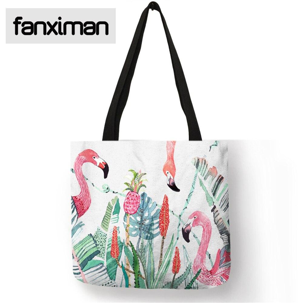 Home Linen Storage Bag for Clothes Food Flower and Brids Flamingo Print Folding Reusable Bags Shopping Fashion Women Handbags