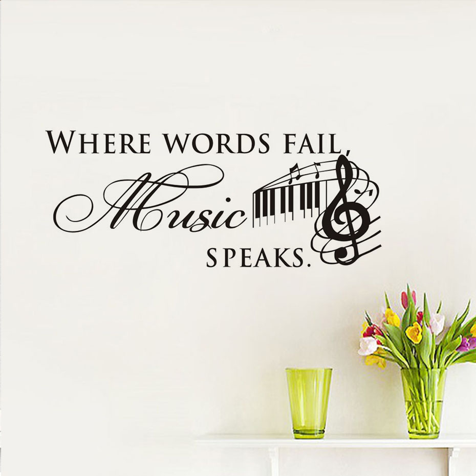 Cartoon Word Quote: DIY Where Words Fail Music Speaks Wall Stickers Vinyl