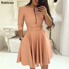 купить Women Fall Half Sleeve Elegant Tunic Party Dress Female O Neck Solid Zipper Belted Pleated Casual Office Dress Vestidos mujer по цене 790.04 рублей