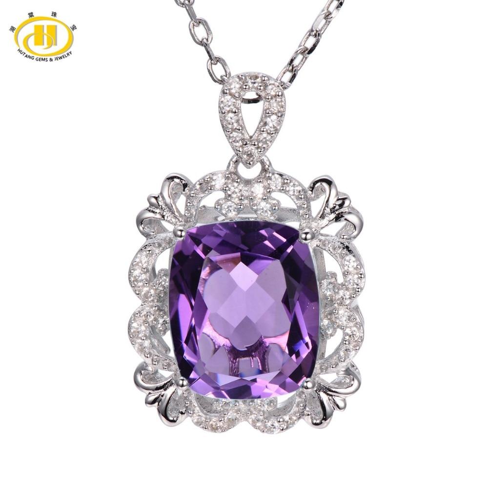 Hutang 925 Sterling Silver Vintange 5.26ct Brazlian Natural Amethyst Solid Pendant Necklace Gemstone Fine Jewelry Women's
