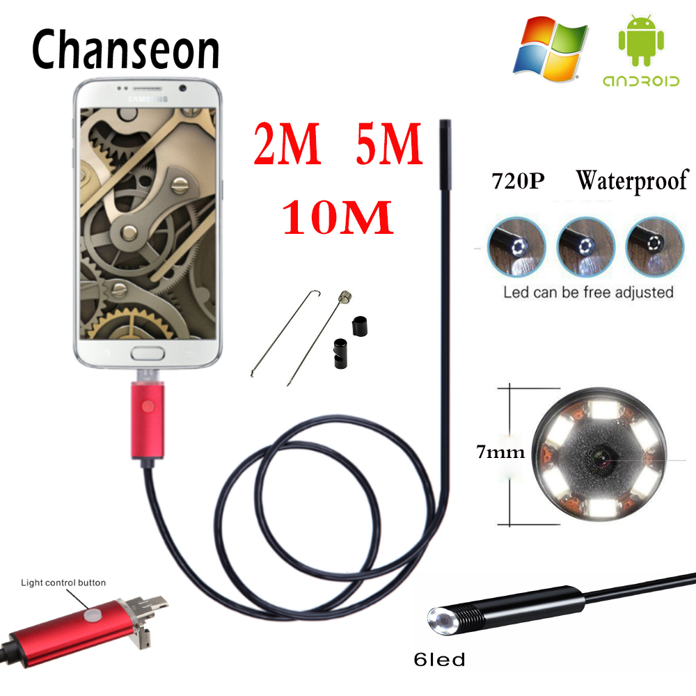 Endoscope 7mm HD 2m 5m 10m USB Android 2 in 1 Adapter Inspection Tube Phone Endoscopio Camera OTG IP67 Waterproof Endoskop
