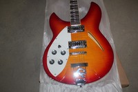 left handed electric guitar rickenback 340 cherry red hollow body 2 pickups 6 strings rickenback jazz guitar