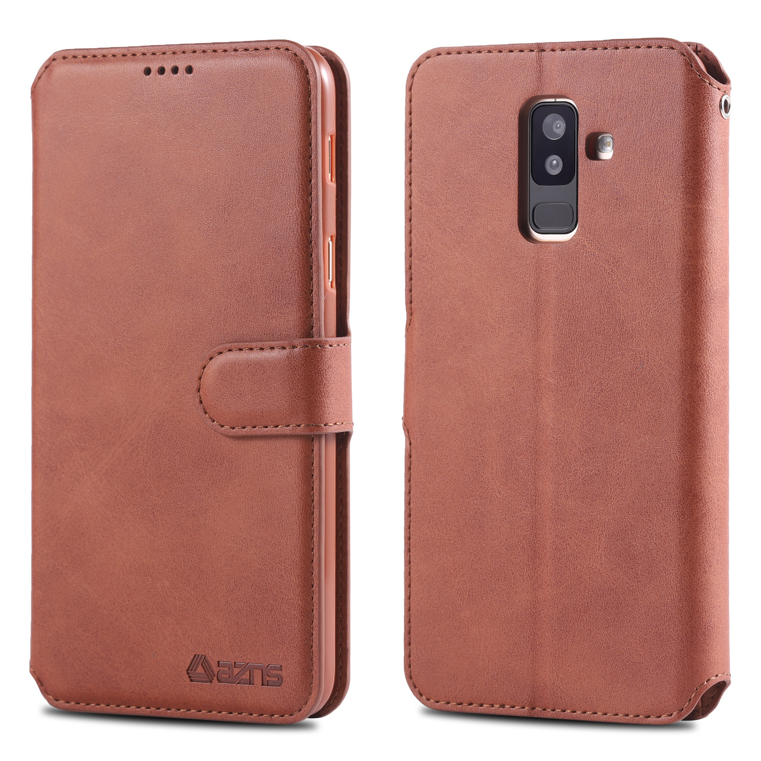 Luxury Leather Wallet Case For Samsung Galaxy A6 2018 a6 plus With Card Holder Flip Case For Samsung A6 Plus Cover Silicone in Wallet Cases from Cellphones Telecommunications