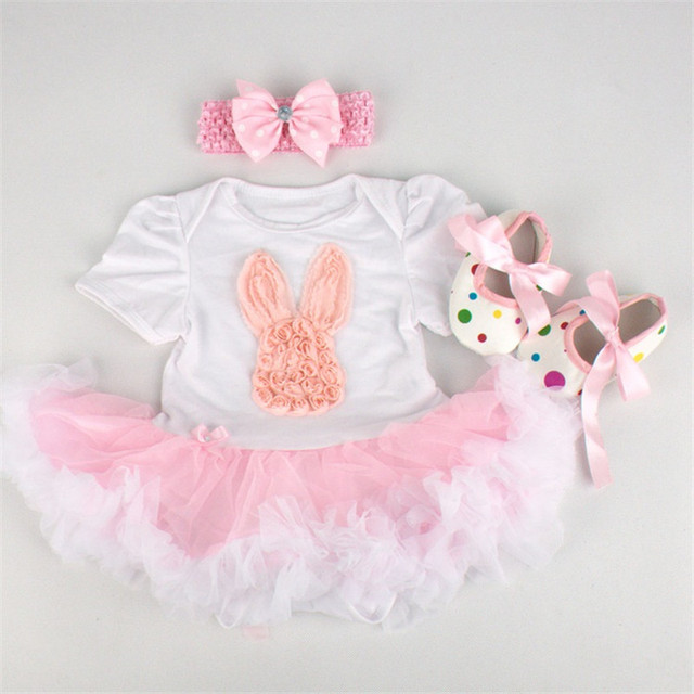 New Born Baby Girl Clothes Outerwear Baby's Sets Easter Rabbit Romper Dress 3pcs Outfits Set Roupa Infantil Baby Costume Vestido