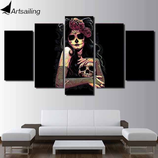 eda6493e06910 US $5.99 40% OFF|Aliexpress.com : Buy HD printed 5 piece canvas art sets  skull canvas wall art Day of the Dead Face painting room home decor Free ...