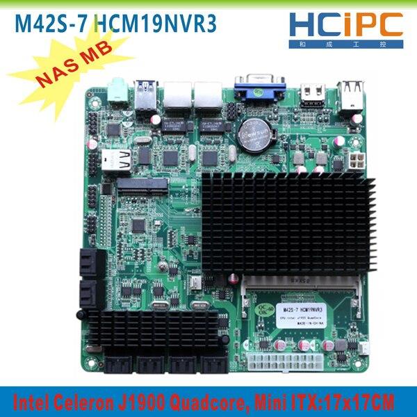 HCIPC Mini ITX Ports NAS 2-Giga HDMI 12SATAIII LAN HCM19NVR3 M42S-7 ATX VGA 8--Usb2.0